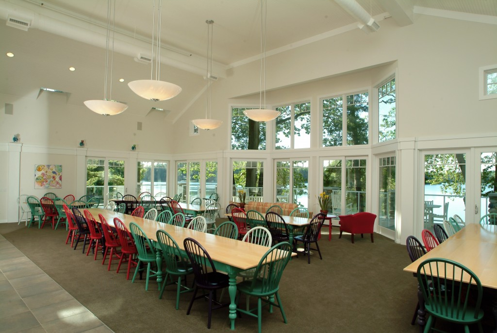 The dining room easily seats 64 and tables can be rearranged to suit your needs.