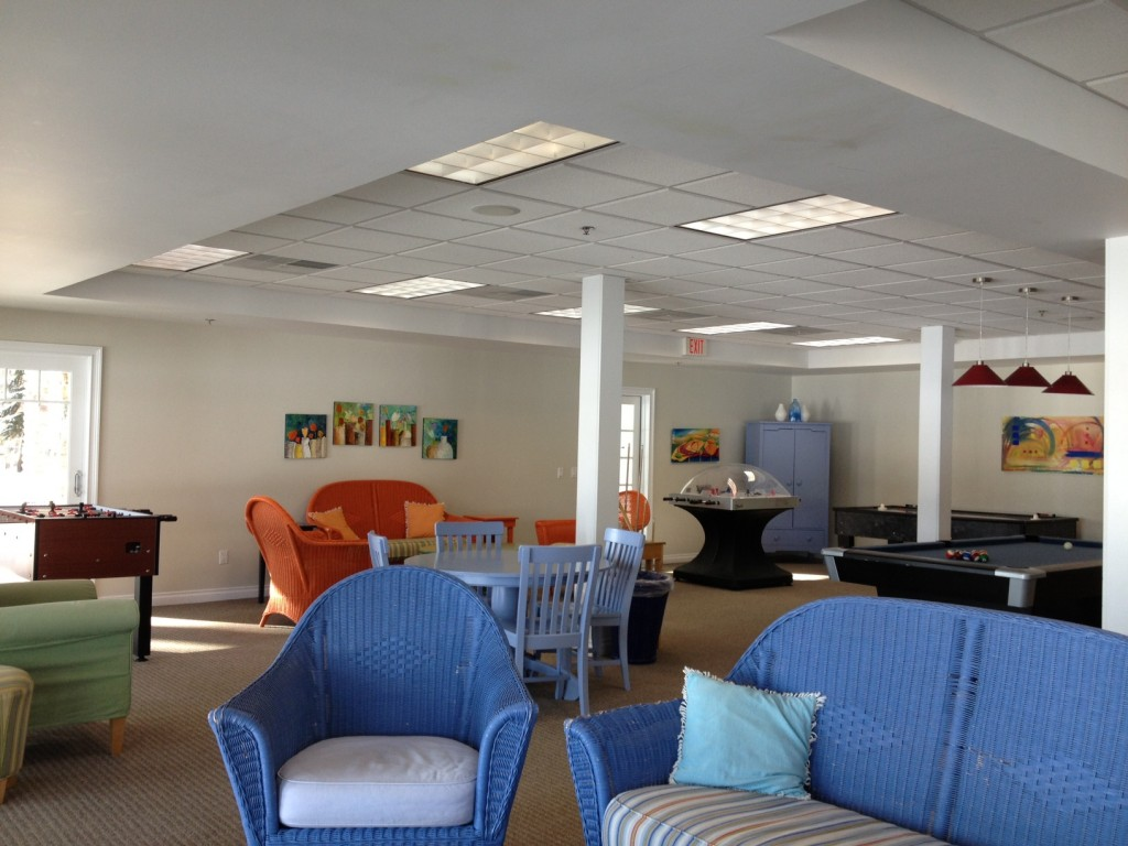The spacious downstairs rec room.